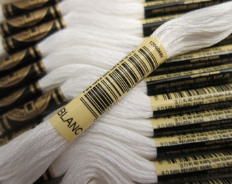 White #BLANC, DMC Cotton Embroidery Floss - 8m / 8.7 yd. Skeins - Available in Single Skeins, Multi-Skein Pkgs and Full (12-skein) Boxes