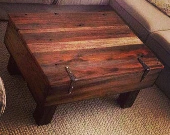 Fruit Crate Coffee Table With Reclaimed 4x4 Wood Legs