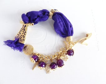 Purple Silk Bracelet,Turkish Caftan Bracelet,Turkish Jewelry,Gold Bracelet,Purple Jade Bracelet,Elegance Bracelet,Mother's Day Gifts