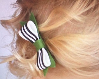 M2M Matilda Jane. Striped Hair Bow, Black and White Stripes, Black, White, Green, Headband, Hair Clip, Toddler Hair Accessory HC1280