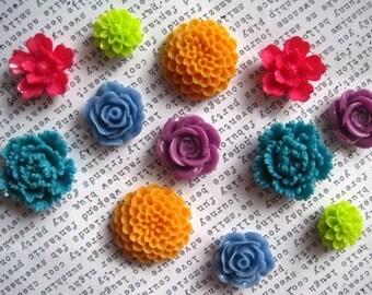Resin Flowers, 12 pcs, Cabochon Flowers, Marigold Orange, Teal, Lilac, Lime, Cornflower Blue, Resin Roses, Dahlias, Sakura, Flat Back Flower