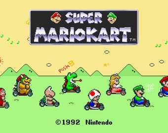 Video Game Art Print - Super Mario Kart - Super Nintendo Tribute