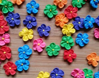 Mini rainbow royal icing flowers -- Edible cake decorations cupcake toppers (24 pieces)