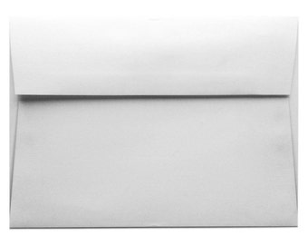 A7 White Woven Envelope, invitations A1 (5 1/4 x 7 1/4) text square flap, 25 count