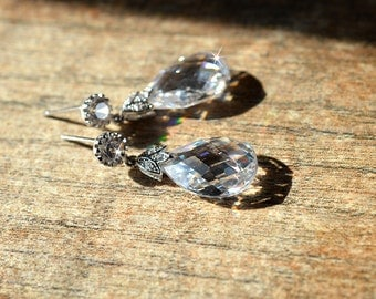 Sophisticated crystal teardrop earrings Dressy cubic zirconia drop earrings Victorian Tudor Renaissance Special occasion jewelry for bride