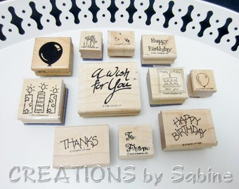 Birthday Rubber Stamps Mixed Set Lot Stampin Up Thanks To From Gift Tag Balloon Gift Candles Happy Birthday Wish Cake Fun Stamps (85)