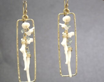 White Branch Coral hammered drop earrings Bohemian 189