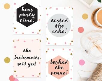 Confetti Wedding Milestone Cards Peach Grey Black White Gold Calligraphy Wedding Stationery Wedding Planning