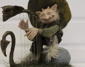 Faun | Satir | Faun playing the harp | OOAK art doll | Faun Doll | Satyr Doll | Faun Sculpture | Satyr Sculpture