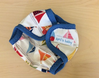 Newborn waterproof cloth diaper cover - fits 6-12 lbs, sail away with me