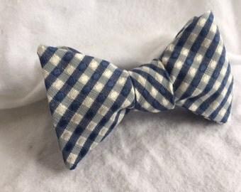 Men's Blue/White Plaid Adjustable Bow Tie (Self Tie)