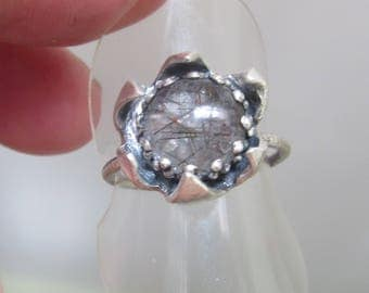 Silver Rutilated Quartz  Ring - Double Flower Set Ring - size 8 1/4