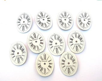 10 Porcelain Watch Faces - Oval Watch Face Lot - Steampunk Supplies - Oval Watch Faces - Roman Numeral Watch Face