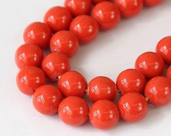 Faux Turquoise Beads, Red Orange, 10mm Smooth Round - 15 inch Strand - eGR-IT039-10