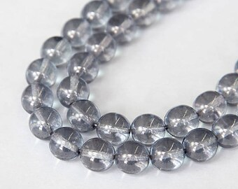 Steel Grey Luster Czech Glass Beads, 10mm Round Druk - 25 pcs - e14464-10r