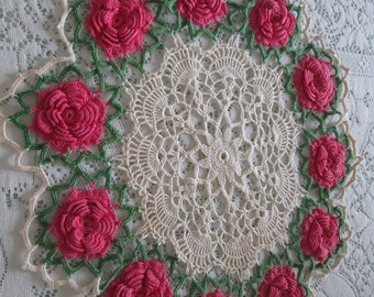 large Vintage pink  and cream lace doillie, vintage crochet lace doilly, pink rose crochet flower vintage cottage linens by herminas cottage