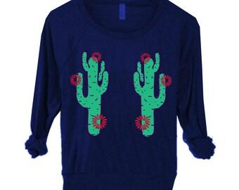 Sale WOMENS CACTUS Flower Bohemian Screen Print Top American apparel Pullover Raglan Sweater long sleeve Shirt Top S M L XL More Colors