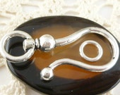 Large Antique Silver Hook and Eye Clasp Closure  - (5)