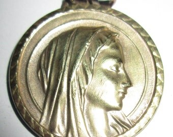 "Beautiful Vintage Large Lourdes Medal - engraved ""Agnes"" and dated 1976 - 1 1/2"" across"