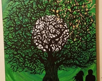 Naked tree and full moon acrylic painting CUSTOMIZE YOUR OWN