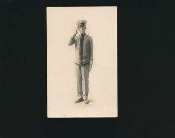 real photo postcard, RPPC, cadet in uniform, 1904-1918.
