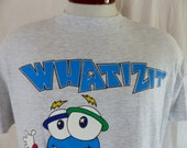 cute kawaii weird vintage 90's Whatizit 1996 Atlanta Olympic Games heather grey graphic t-shirt event souvenir mascot back front logo Large