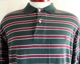 vintage 90's Polo by Ralph Lauren forest green horizontal stripe maroon red cream white jersey knit cotton long sleeve polo shirt Large
