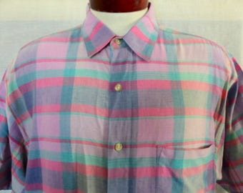 vintage 80's 90's Geoffrey Beene pastel madras plaid multicolor blue green pink purple short sleeve collar shirt unisex button up Large