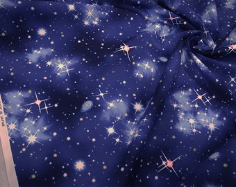 Night Sky Design Japanese Fabric / Space  - 110cm x 50cm