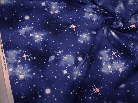 Night sky design japanese fabric space 110cm x 50cm for Night sky material
