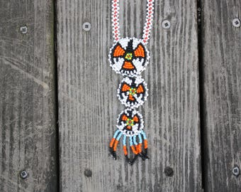 Native American Beaded Medallion Trio Necklace from the American Southwest