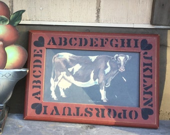 Folk Art Milking Cow Picture - Primitive Cattle Alphabet Wall Hanging