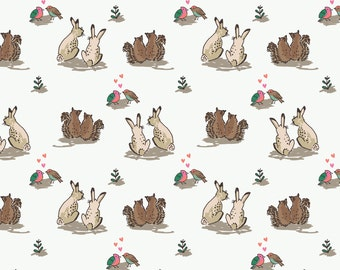 Fat Quarter Wilderness Rabbits Love on White 100% Cotton Quilting Fabric