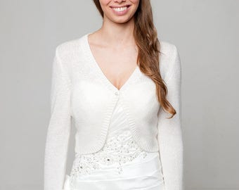 Bridal cardigan Helena knitted with ornamental sleeve tight - perfect for Boho weddings in off white, ivory and other colours