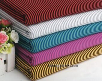 """Knitting Cotton Fabric, Soft Cotton Knit Stretch Fabric Stripes Jersey Fabric- 1/2 yard 18""""x65"""""""