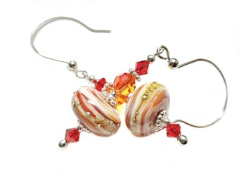 Shades of Fire lampwork bead earrings dripped in silver, Orange Fire and Red Swarovski Crystals, Sterling Silver