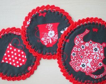 Crochet Fabric Coaster - Set of 3