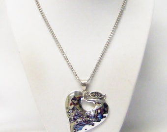 "Antique Sliver ""Blessing Heart"" Message Pendant Necklace"