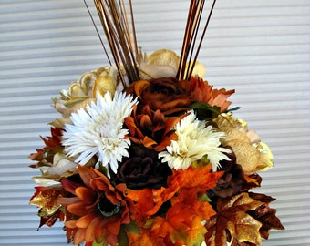 Fall table arrangement, Thanksgiving centerpiece, Silk floral arrangement, Pumpkin centerpiece, Thanksgiving decoration, Housewarming gift