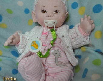 """Fretta's Newborn Baby Girl. Weighted Empathy Baby. Realistic looking 5 point jointed 50.8 cm / 20"""" Soft Sculpture Heavy Baby. Empathy Doll"""