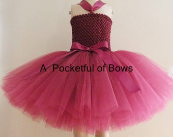 Burgundy Flower Girl Dress Toddler Formal Dress Wine Tulle Tutu Dress