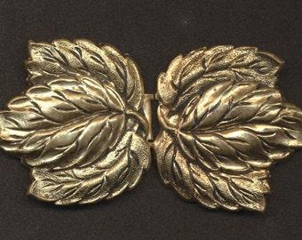 Vintage Two Part Goldtone Leaf Buckle 1930s