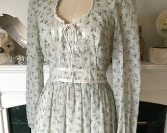 70s Gunne Sax Floral Blue Floral Dress