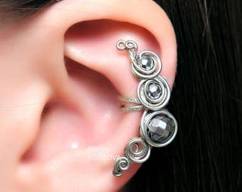 No Piercing Hematite Shine Silver Swirls/cartilage ear cuff/ear jacket ohr manschette/ohrringe clip/conch cuff ear sweep/ear crawler climber