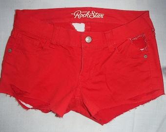 RED Jean Shorts/GAGA Jeans Shorts/Bum Cheek Jean Shorts/ RIPPED Jean Shorts/ Mid Rise Slim Fit /Distressed Street Style Jeans