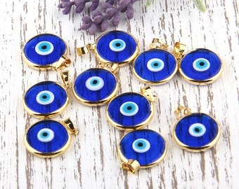 Transparent Navy Blue, Turkish Evil Eye Pendant, Good Luck Pendant, Shiny Gold Plated Open Bezel Setting, 1 piece // GP-474