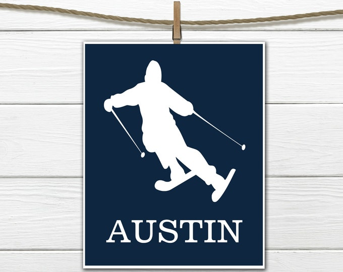 Skier   Sports Silhouette- Boy  Skiing   - Custom Print -  Personalized