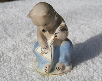 Vintage Russian USSR China Bear Playing Musical Instrument Balalaika Cute Bear Figurine