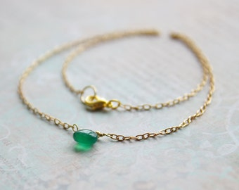 Gold chain simple necklace - Dainty green onyx teardrop necklace