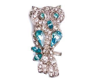 Vintage Rhinestone Owl Brooch Blue Owl Brooch Silver Owl Brooch Capri Blue Rhinestone Owl Pin